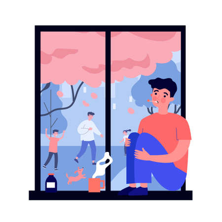 Sick young man with flu looking at window. Disease, loneliness, medication flat vector illustration. Healthcare and isolation concept for banner, website design or landing web page