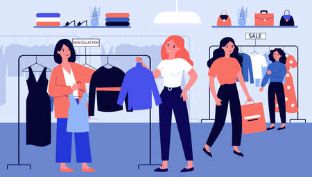 Girls at modern fashion store choosing clothes on hanger flat illustration. Shop customers buying dresses and garment. Product retail and marketing concept. Reklamní fotografie