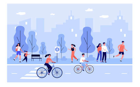 People on city street. Happy young men and woman walking outdoors, riding bikes down urban road, spending weekend in park. Vector illustration for lifestyle, summer outdoor activities concept