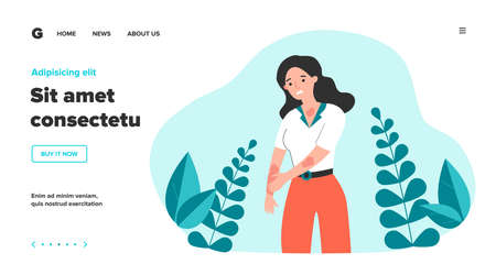 Sad woman scratching skin. Female character suffering from strong eczema or allergy. Vector illustration for disease, dermatology, sickness, symptoms concept