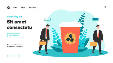 Office worker charging his battery with coffee energy. Business man walking near takeaway coffee cup. Flat illustration for caffeine addict, stress, coffee shop concept