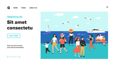 Happy people walking along sea on quay isolated flat vector illustration. Cartoon characters relaxing at seaside and watching boats. Summer activity and vacation concept  イラスト・ベクター素材