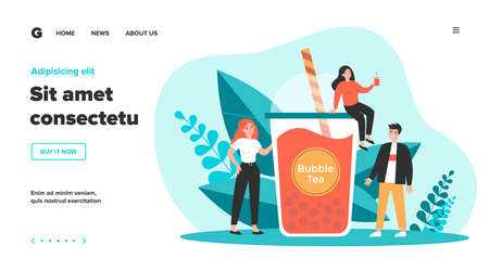 People with plastic cup of bubble milk tea. Happy tiny girls and guy drinking pink fruit boba beverage. Vector illustration for refreshment, summer, Asian fresh bar concept