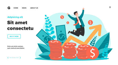 Happy banker jumping over coins flat vector illustration. Cartoon rich businessman celebrating finance growth. Market and income chart concept Illustration