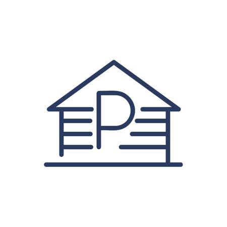 Parking garage thin line icon