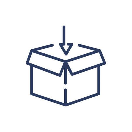 Open box and arrow thin line icon