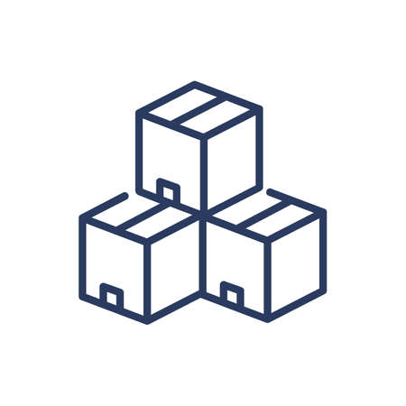 Tree cardboard boxes thin line icon Vektorové ilustrace