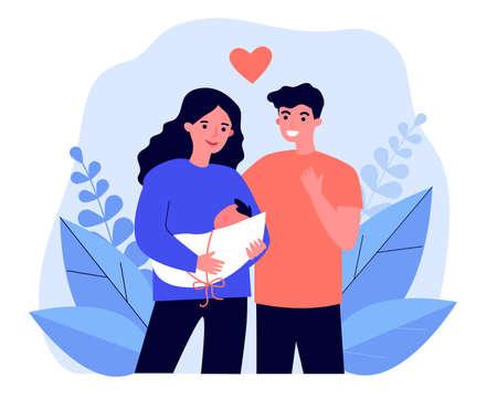 Happy new parents holding baby Ilustrace