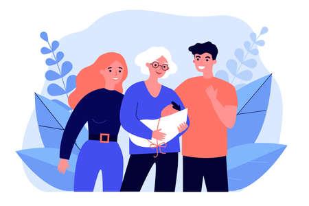 Grandmother parents holding newborn baby