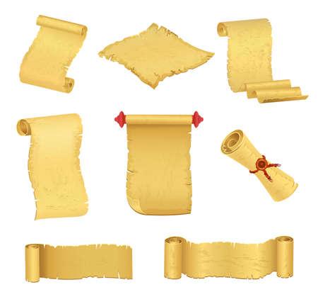 Old paper scrolls set