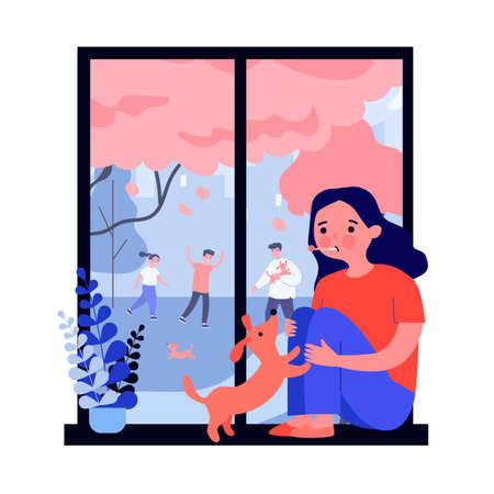 Sad sick girl with flu looking at window
