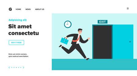 Businessman running to open exit door