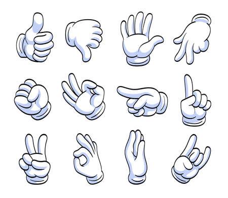 Different cartoon hands in white gloves