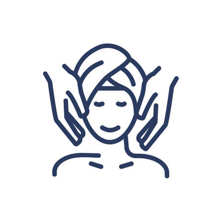 Facial massage thin line icon