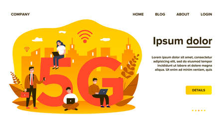 Devices users enjoying 5g city internet