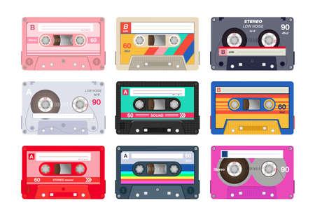 Vintage stereo cassettes flat icon set Ilustração