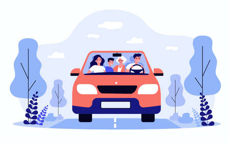 Happy family travelling in car isolated flat vector illustration Illustration