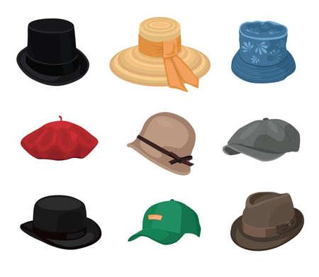 Vintage hats set Vecteurs