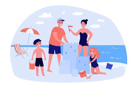 Happy family with children enjoying vacation Ilustração