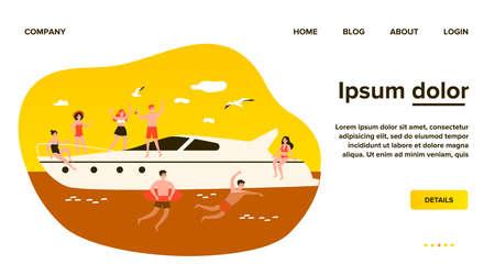 Happy young people enjoying yacht cruise Ilustração