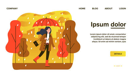 Happy smiling girl with umbrella walking in rainy day Imagens - 153001991