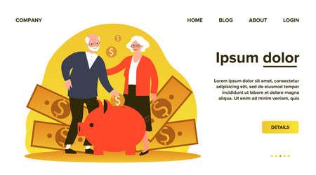 Happy senior couple saving money Imagens - 153002083