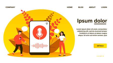 Happy tiny people using voice assistant Ilustração