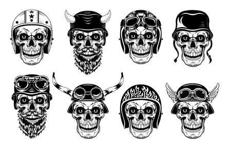 Skulls in biker helmets set