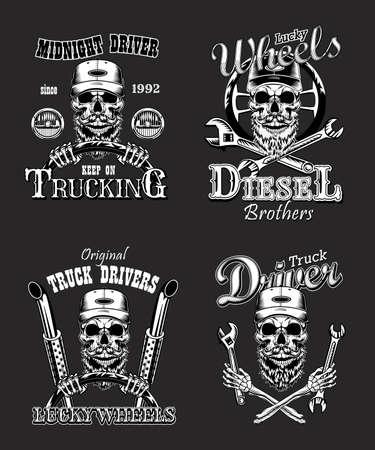 Truck driver vintage logos set Ilustração