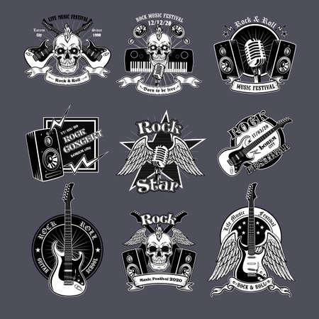 Rock music vintage logo set