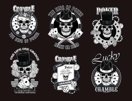Gangster casino skulls set Imagens - 153212788