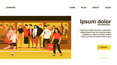 People hurrying into overcrowded train flat vector illustration Ilustrace