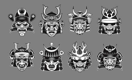 Japanese samurai black masks flat icon set