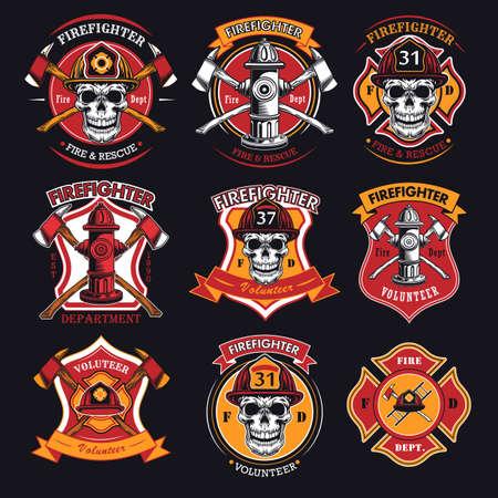 Firefighter patches set Ilustración de vector