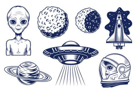 Extraterrestrial life set Ilustración de vector