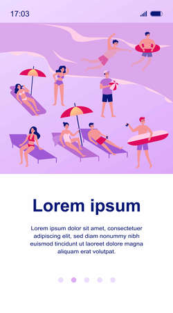 People relaxing at beach flat vector illustration