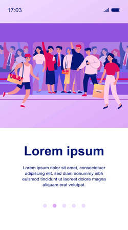 People hurrying into overcrowded train flat vector illustration Ilustração