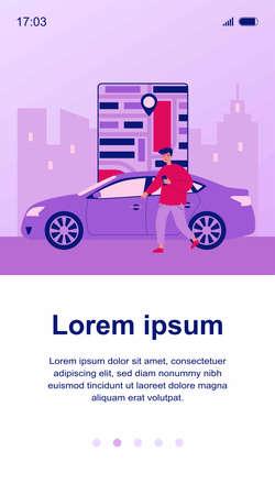 Happy man using car sharing app