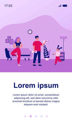 Family exercising at home Ilustração