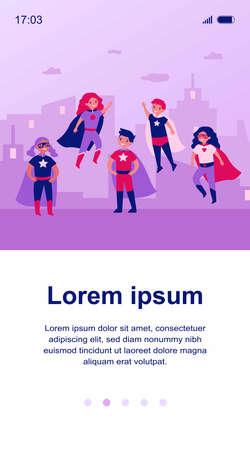 Happy children in super hero characters costumes