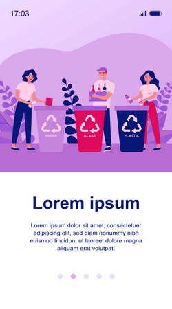 Happy men and women sorting trash Ilustração