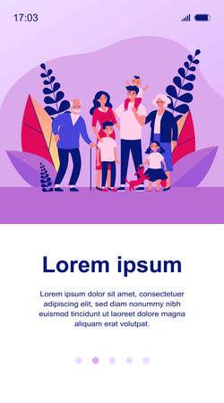 Happy big family standing together flat vector illustration Ilustração
