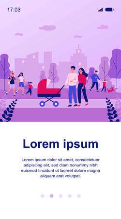 Happy family walking in park flat vector illustration Ilustração