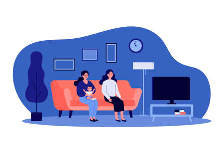 Two women and kid watching TV