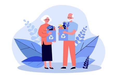 Senior couple shopping with reusable bags