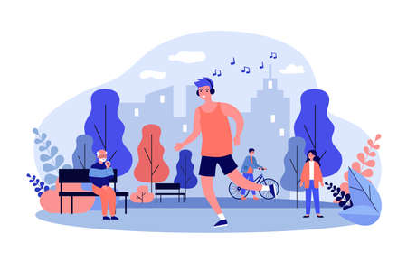 Guy listening to music and jogging in park Ilustração