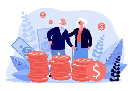 Senior couple with their savings Ilustração