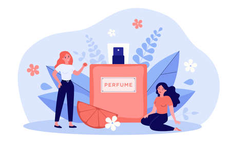 Women enjoying perfume smelling