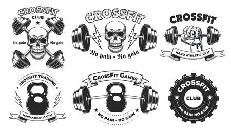 Hard athletic gym badges Ilustração