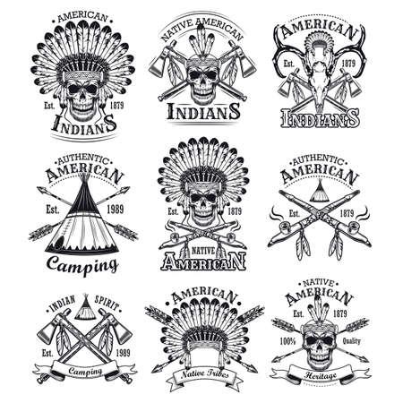 Native Americans emblems set